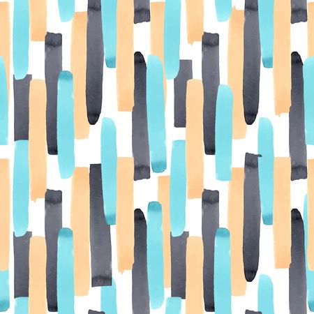 Hermoso vector abstracto geométrico de patrones sin fisuras con rayas acuarelas