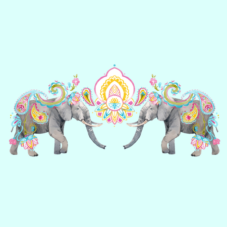 Beautiful vector illustration with hand drawn watercolor elephants