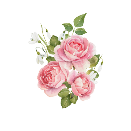 Beautiful vector composition with hand drawn watercolor roses