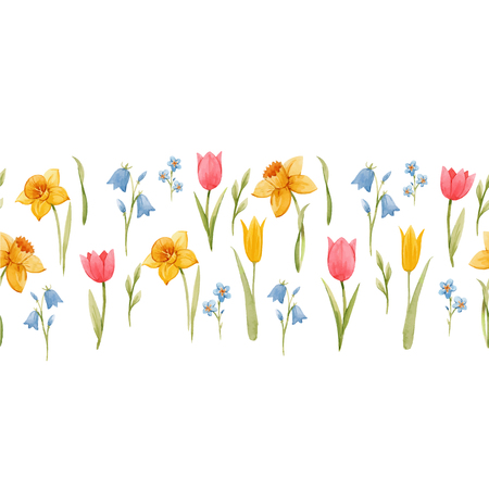 Beautiful vector seamless pattern with hand drawn watercolor spring flowers Stock Vector - 117810781