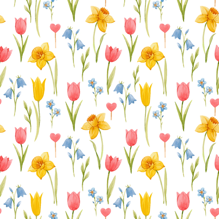 Beau modèle sans couture de vecteur avec des fleurs de printemps aquarelles dessinées à la main