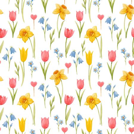 Patrón transparente de vector hermoso con flores de primavera acuarela dibujadas a mano