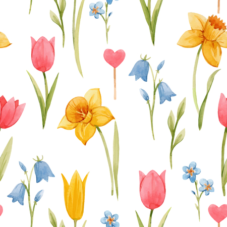 Beautiful vector seamless pattern with hand drawn watercolor spring flowers