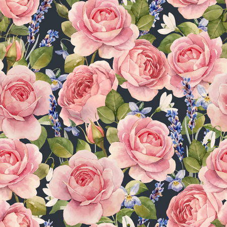 Beautiful vector seamless pattern with hand drawn watercolor roses