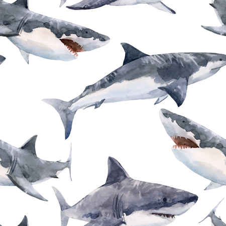 Beautiful vector seamless pattern with hand drawn watercolor sharks