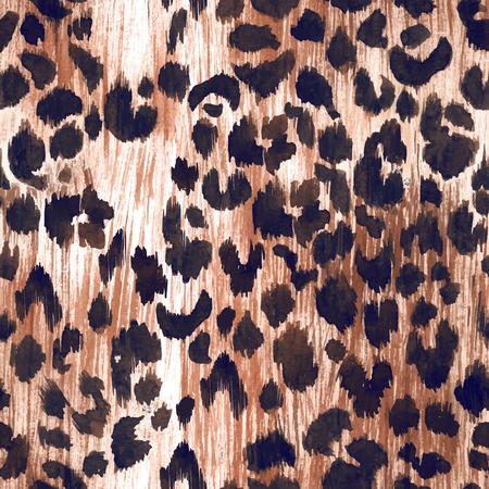 Watercolor leopard jaguar texture vector pattern Stockfoto