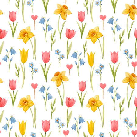 Watercolor spring floral pattern Banque d'images - 118711702