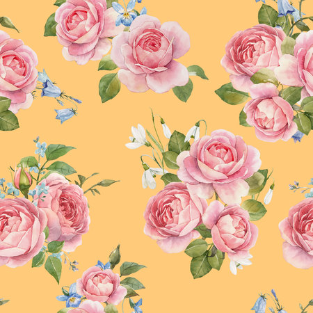 Watercolor rose pattern 스톡 콘텐츠