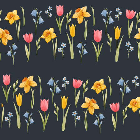 Watercolor spring floral pattern Imagens