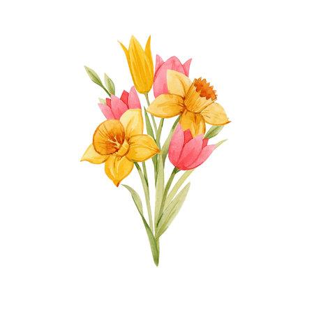 Watercolor spring floral bouquet