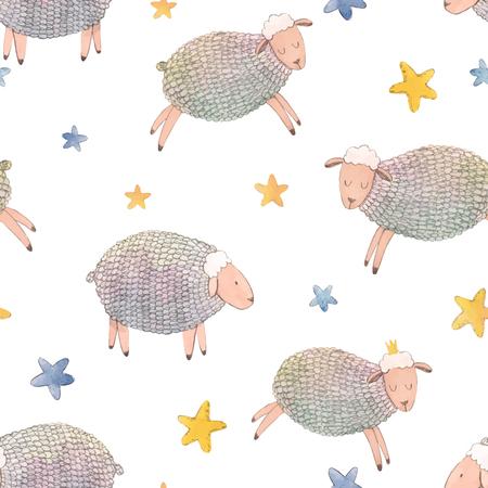Watercolor sheep vector pattern Illustration