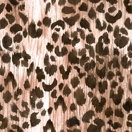Watercolor leopard jaguar texture vector pattern Çizim