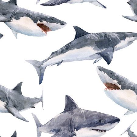 Watercolor shark pattern Banque d'images