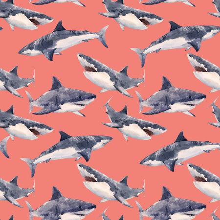 Watercolor shark pattern Stock Photo