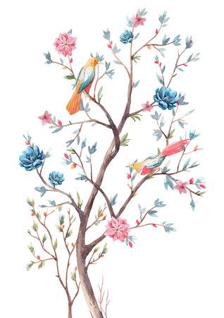 Watercolor tree illustration Stock Illustration - 118930297