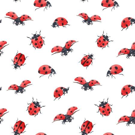 Watercolor ladybug seamless vector pattern Illustration