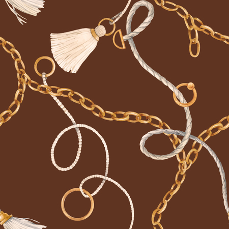 Watercolor vector glamorous seamless pattern with chains, leather belts and ropes gold ring Foto de archivo - 122039287