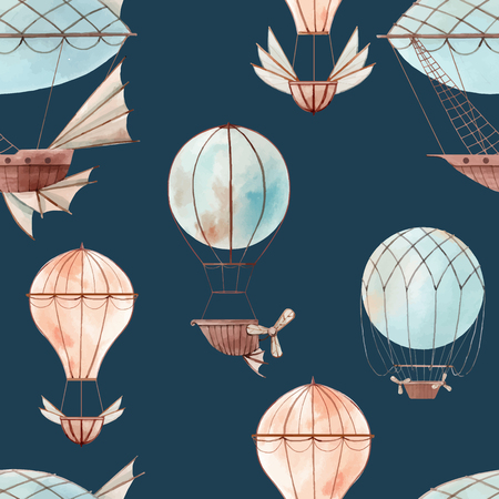 Beautiful vector seamless baby pattern with watercolor fairy aircrafts air baloons