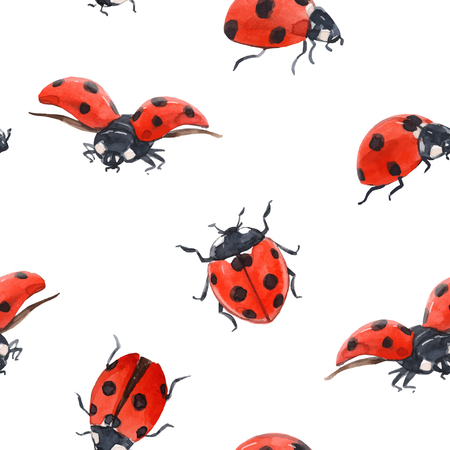 Watercolor ladybug seamless vector pattern