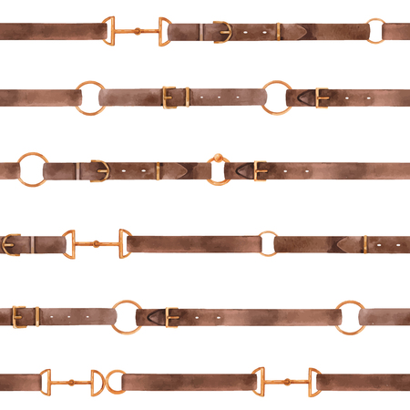 Watercolor vector glamorous seamless pattern with chains, leather belts and ropes gold ring