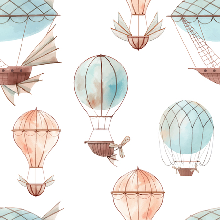 Beautiful vector seamless baby pattern with watercolor fairy aircrafts air baloons Çizim
