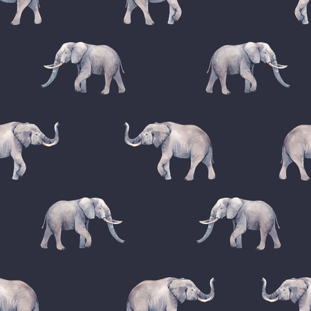 Watercolor elephant seamless pattern
