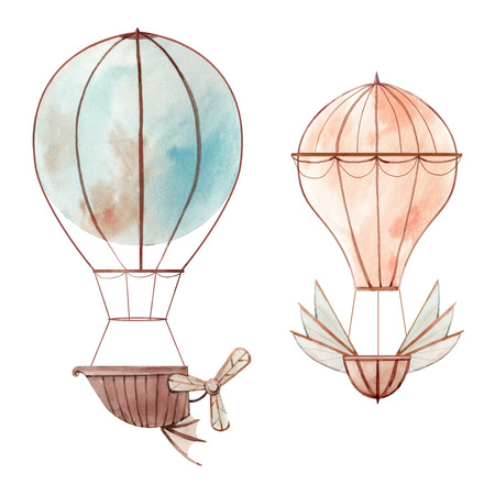 Beautiful illustration with watercolor fairy aircrafts air baloons Stok Fotoğraf