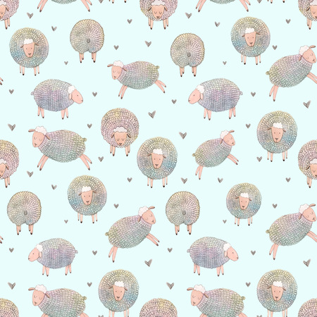Watercolor sheep pattern