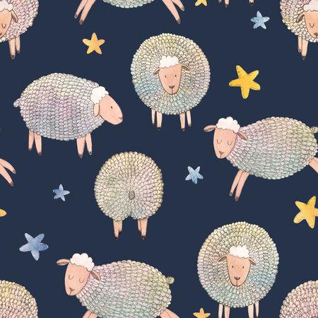 Watercolor sheep pattern