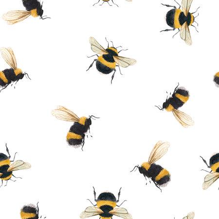 Watercolor bumblebee pattern
