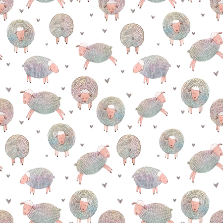 Beautiful vector seamless pattern with cute hand drawn watercolor sheeps