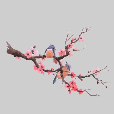 Schöne Vektorillustration mit japanischem Kirschblüte-Zweig des Aquarells