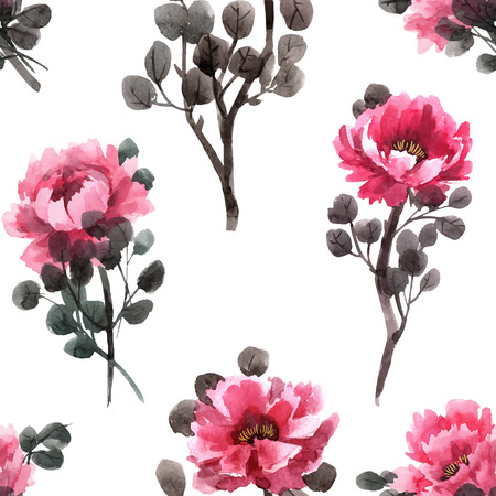 Watercolor chinese rose vector pattern Vectores