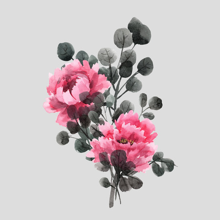 Beautiful vector floral illustration with watercolor chinese roses