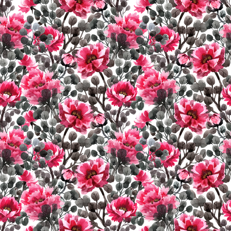 Watercolor chinese rose vector pattern Stock Photo