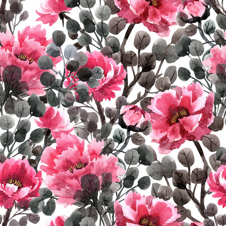 Watercolor chinese rose pattern Stock Photo