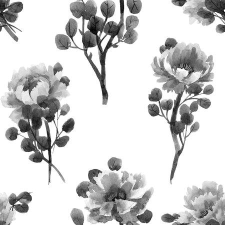Watercolor chinese rose pattern Reklamní fotografie
