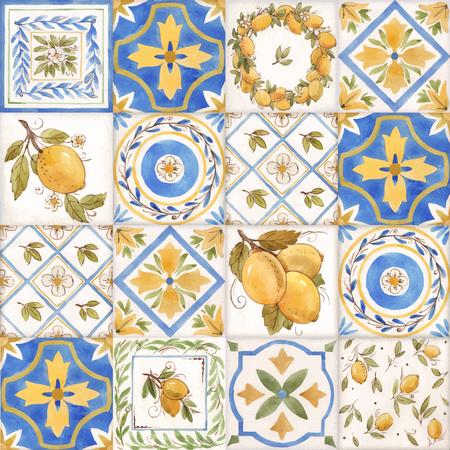 Akwarela wektor ornament kwadrat lato wzór z żółtymi cytrynami Sycylii Ilustracje wektorowe