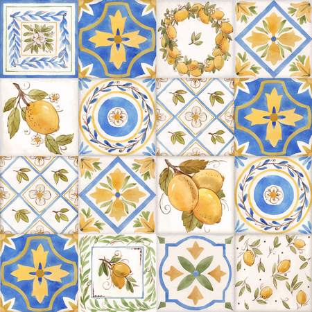 Watercolor vector ornament square summer pattern with Sicily yellow lemons