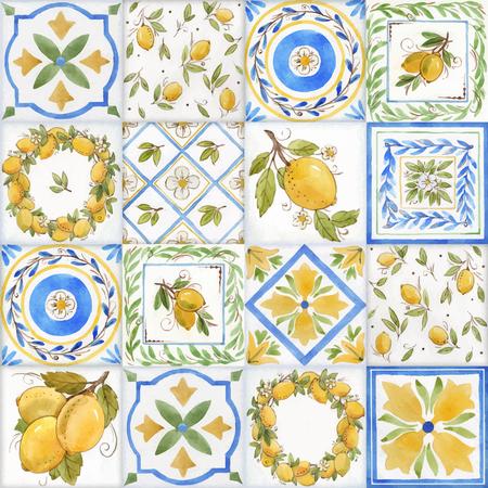 Akwarela ornament kwadratowy wektor wzór