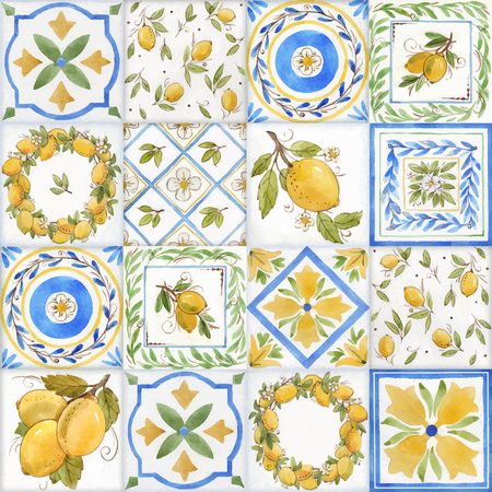 Watercolor ornament square vector pattern Stockfoto - 122589802