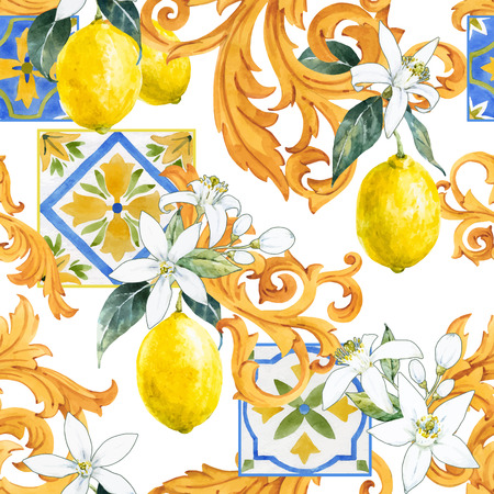 Beautiful vector seamless pattern with watercolor hand drawn lemons and ornament elements Ilustrace