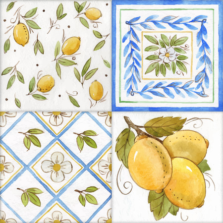 Watercolor ornament square vector pattern