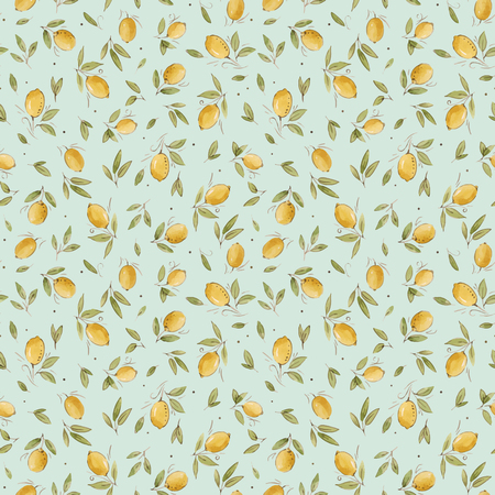 Beautiful vector seamless pattern with watercolor hand drawn lemons Ilustrace