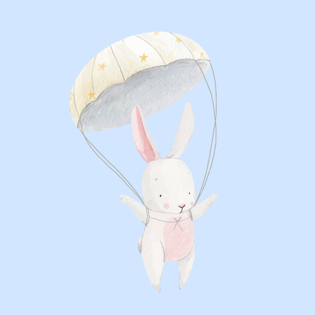 Cute vector watercolor hand drawn baby rabbit skydiver illustration Illusztráció