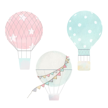 Beautiful vector air baloons watercolor hand drawn illustrations collection Illustration
