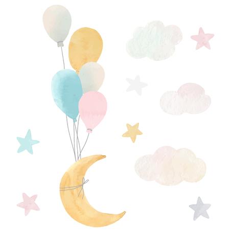 Vector bebé luna estrellas y nubes