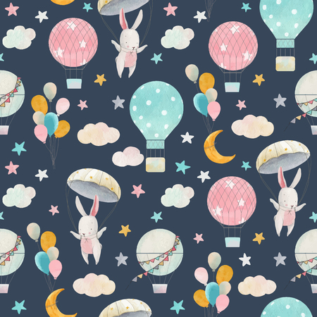Watercolor cute baby vector pattern