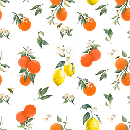 Beautiful vector seamless pattern with watercolor citrus fruits orange lemon