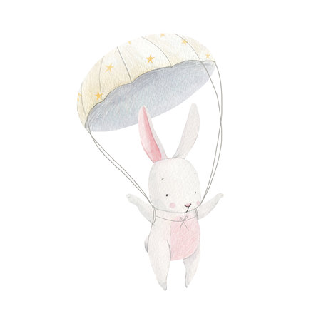 Watercolor baby rabbit skydiver Stock fotó